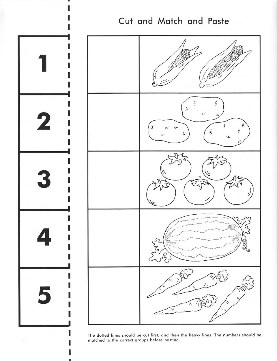 Cut, Count, Match And Paste   Free Printable