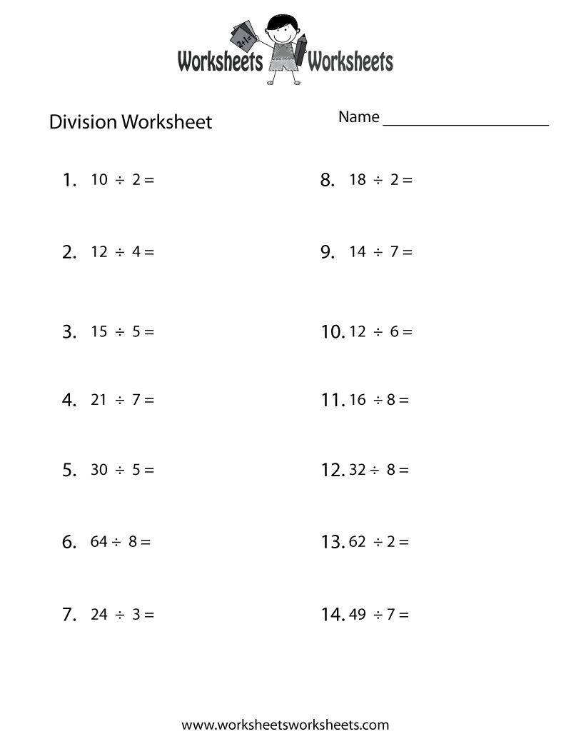 Division Practice Worksheet