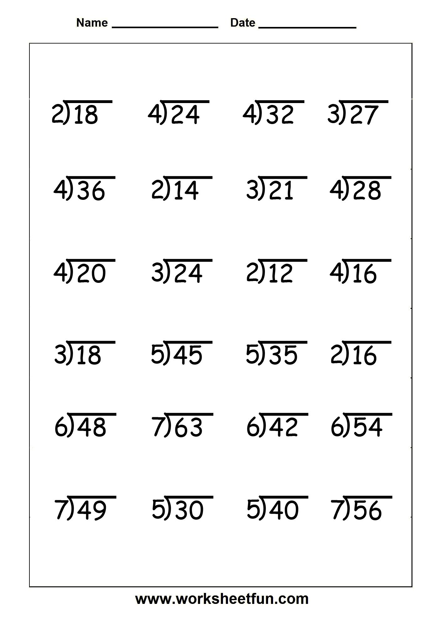 Divison Worksheets 4th Grade Math  Divison  Best Free Printable