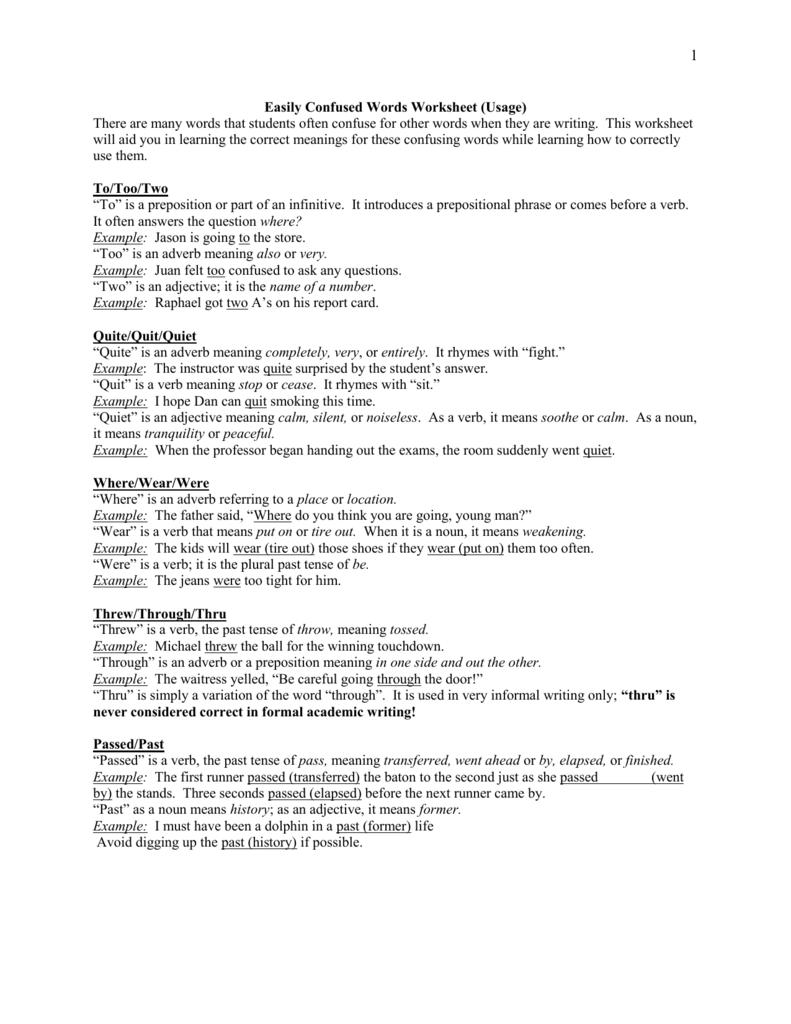 Easily Confused Words Worksheet Worksheets For All