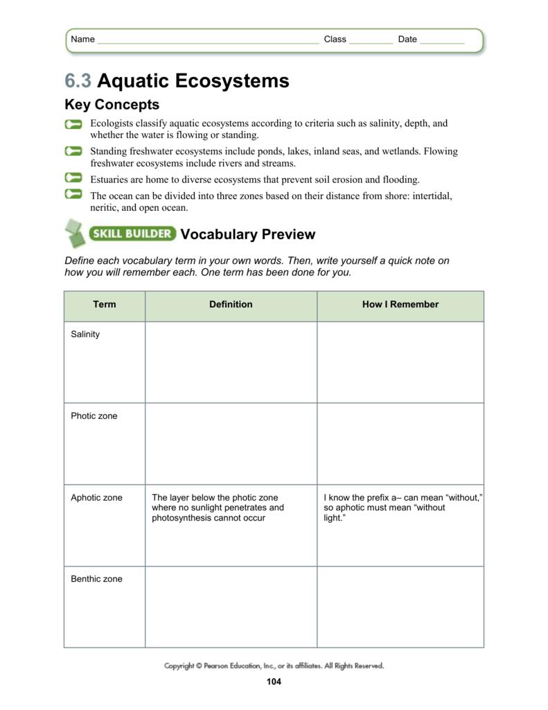 Ecosystem Worksheet Answer Key Worksheets For All