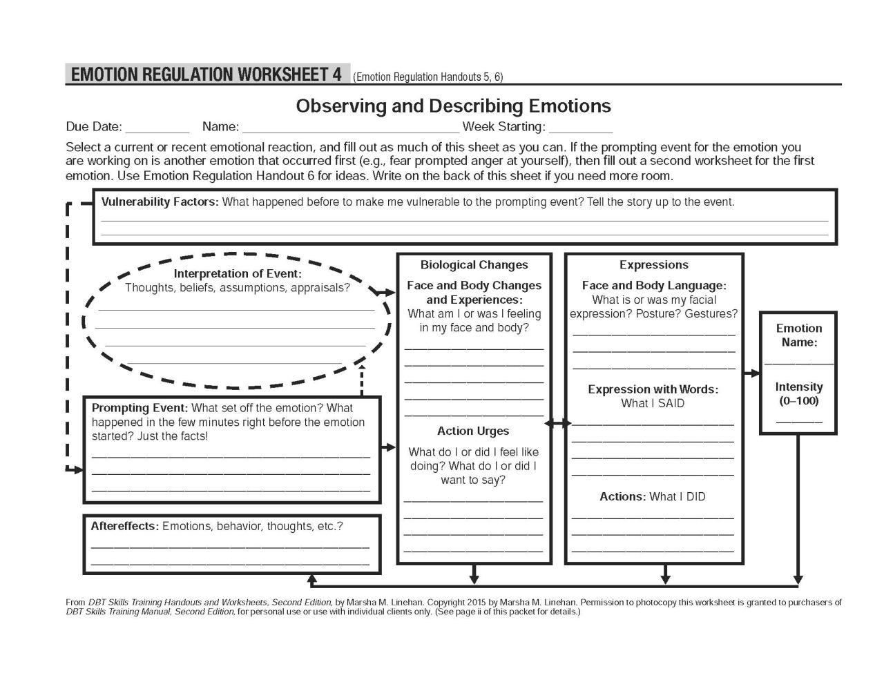 Emotion Regulation Worksheets Worksheets For All