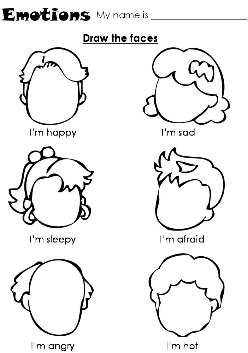Emotions Worksheet For Children  Draw The Faces!