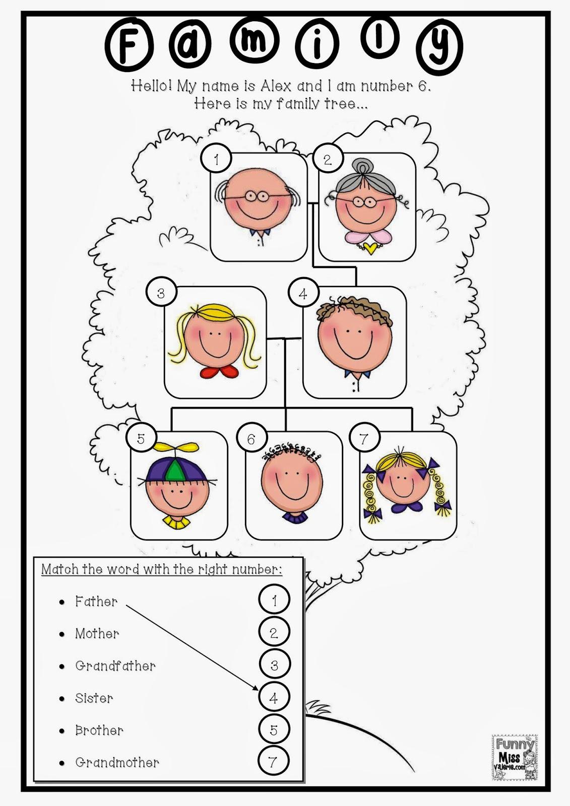Enchanting Worksheets On Family For Grade 1 For Funny Miss ValÃ