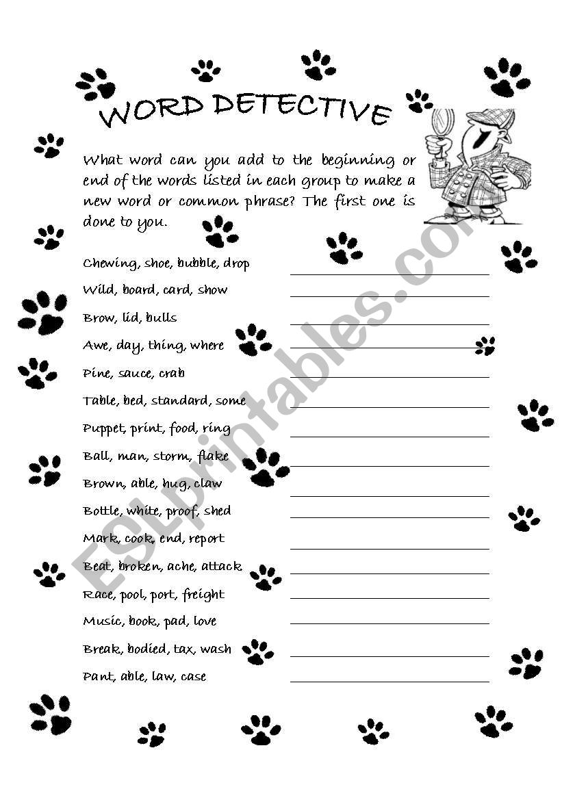 English Worksheets  Word Detective