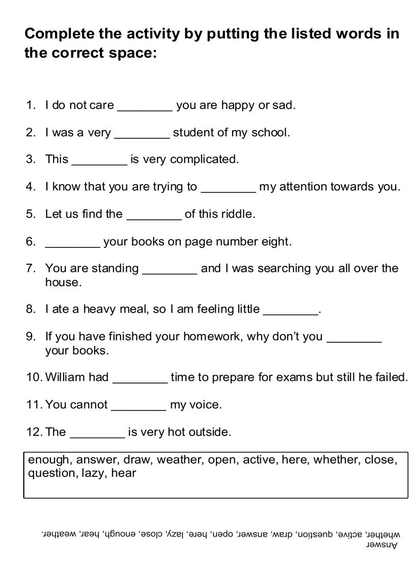 English Worksheets For Kids All