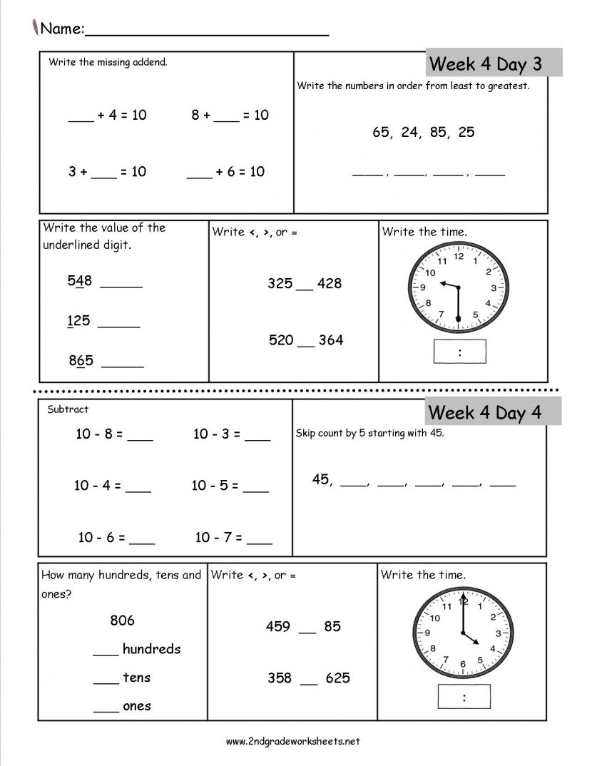 Envision Math 2nd Grade Worksheets Mathematical Exercise Sample