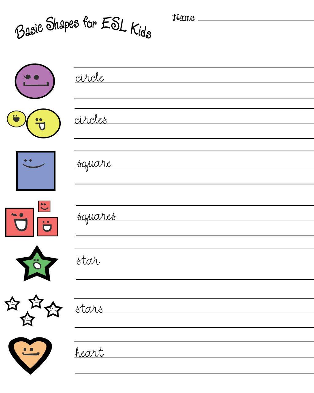 Esl Kids  Free Shapes Worksheets