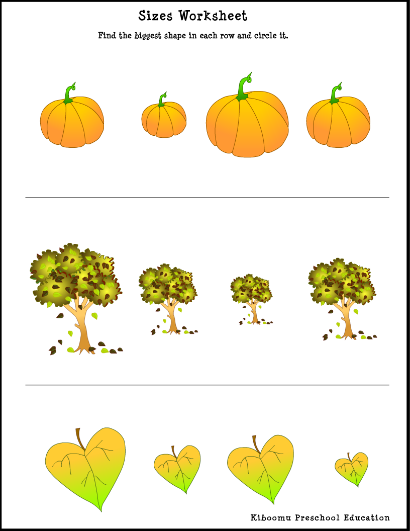 Fall Activity Sheets For Preschoolers