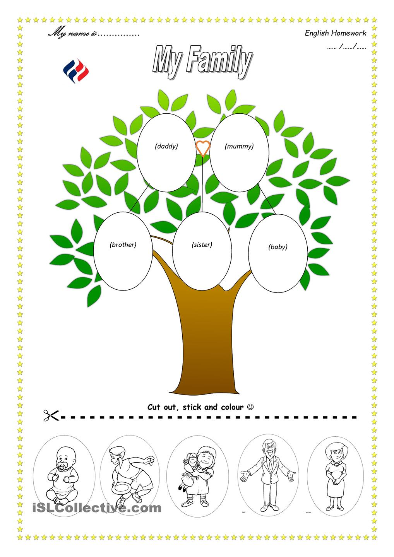 Worksheet For Kindergarten My Family - Kidz Activities
