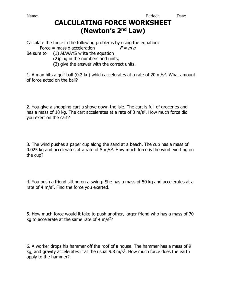 Force Mass Acceleration Worksheet Worksheets For All