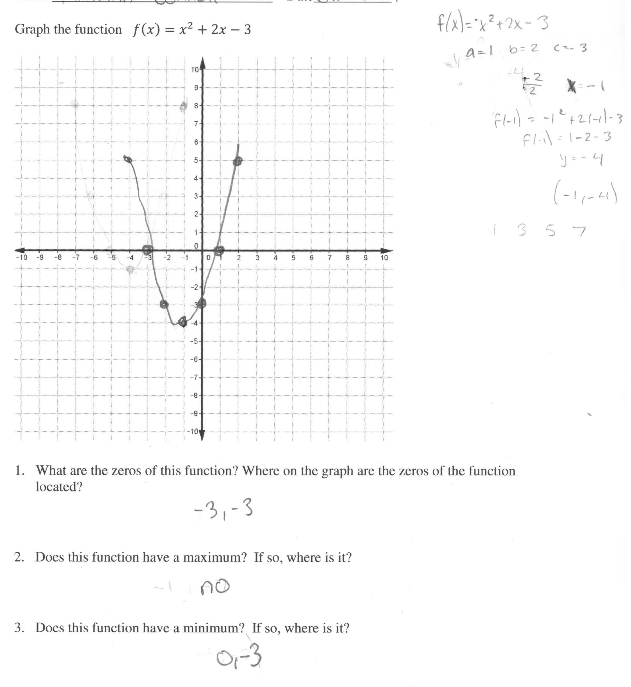 Form Worksheet Quadratic Graphs Grass Fedjp Study Site Graphing
