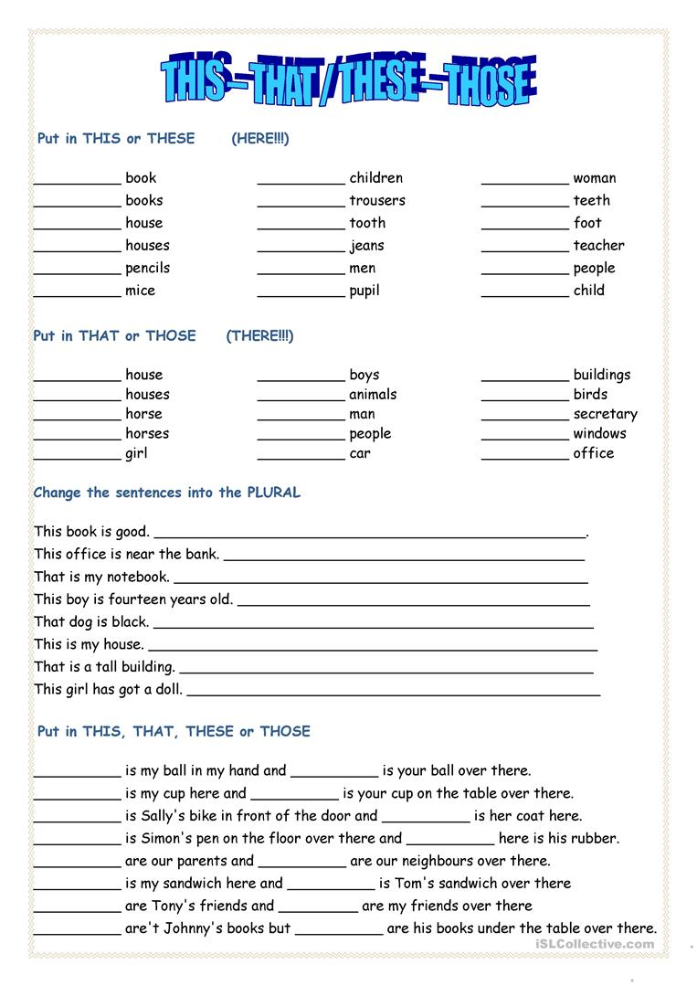 Formidable Worksheets With This That These Those About This That