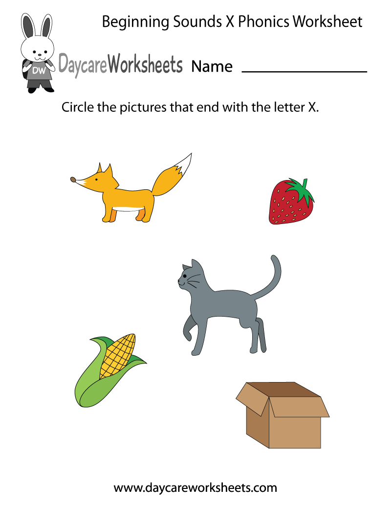 Free Beginning Sounds Letter X Phonics Worksheet For Preschool