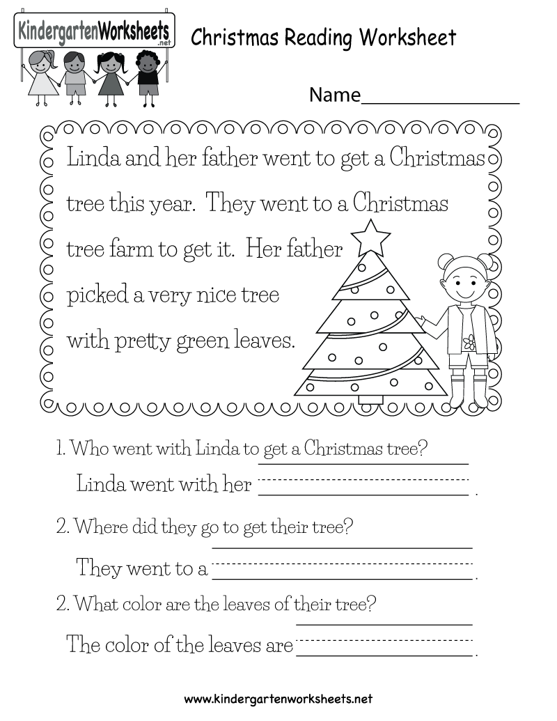 Free Christmas Reading Worksheets Printables
