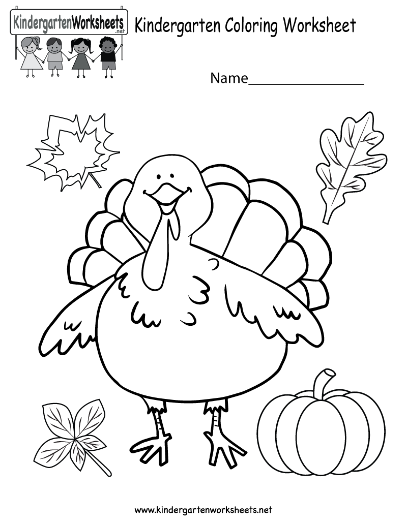 Free Coloring Activities For Kindergarten Thanksgiving Worksheet