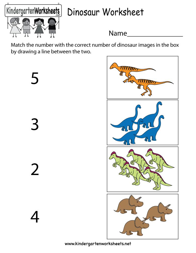 Free Kindergarten Dinosaur Worksheets