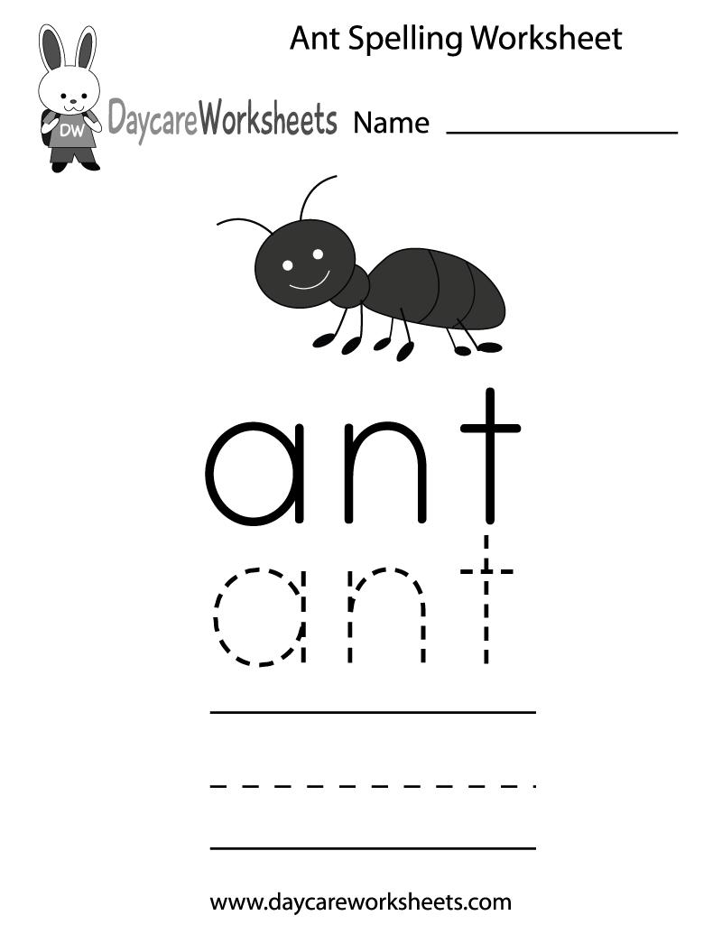 Free Preschool Ant Spelling Worksheet