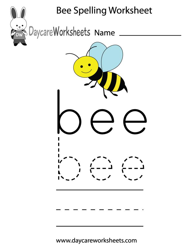 Free Preschool Bee Spelling Worksheet
