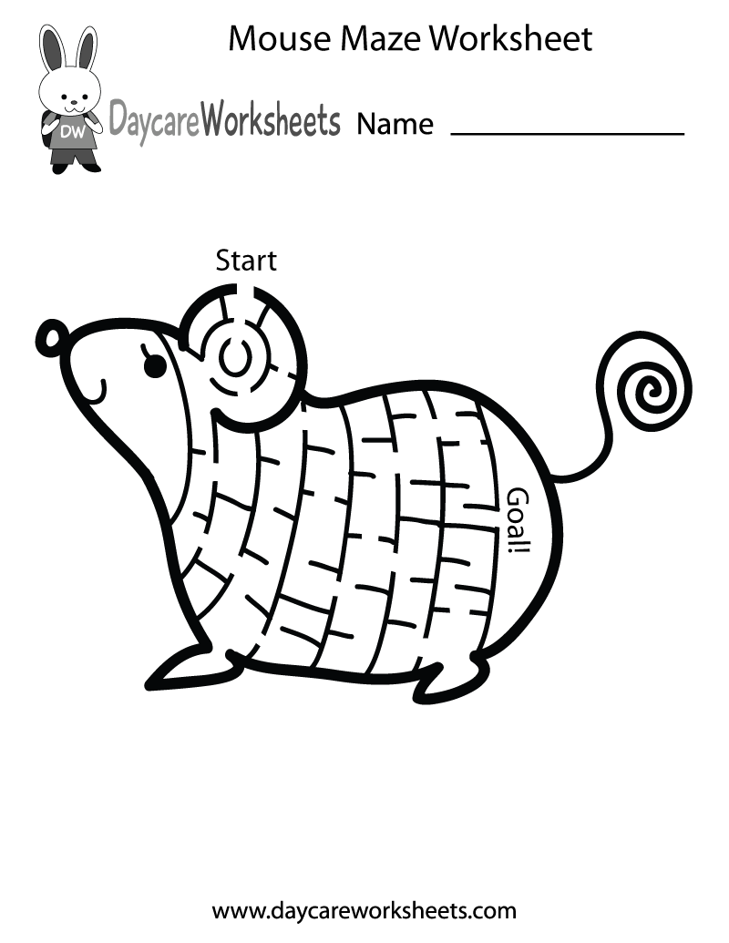 Free Preschool Mouse Maze Worksheet