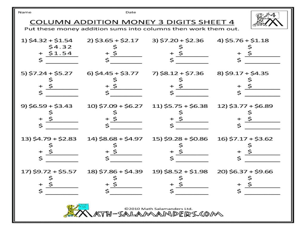 Free Printable Addition Worksheets 3rd Grade Column Worksheet Ks1