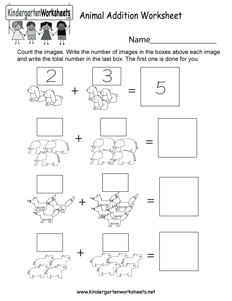 Free Printable Animal Addition Worksheet For Kindergarten