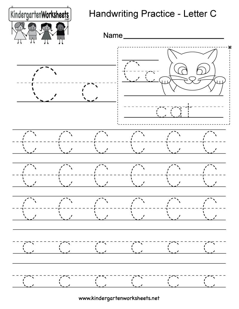 Free Printable Letter C Writing Practice Worksheet For Kindergarten
