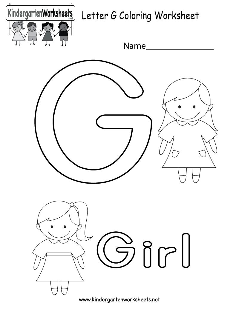 Free Printable Letter G Coloring Worksheet For Kindergarten