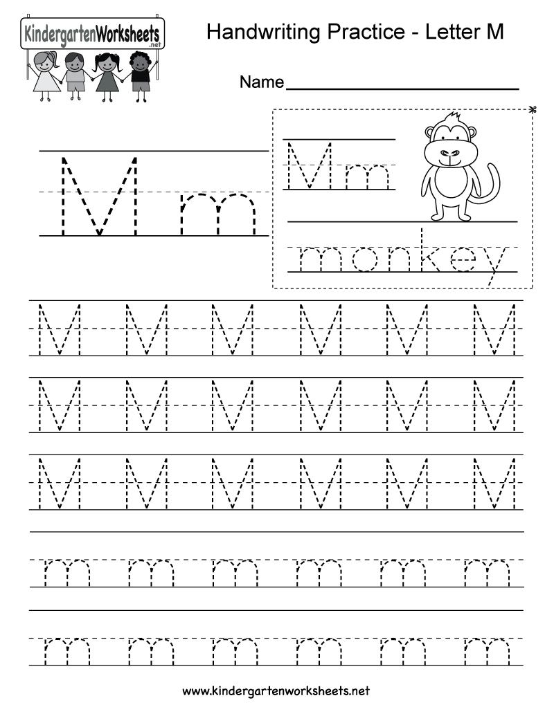 Free Printable Letter M Writing Practice Worksheet For Kindergarten