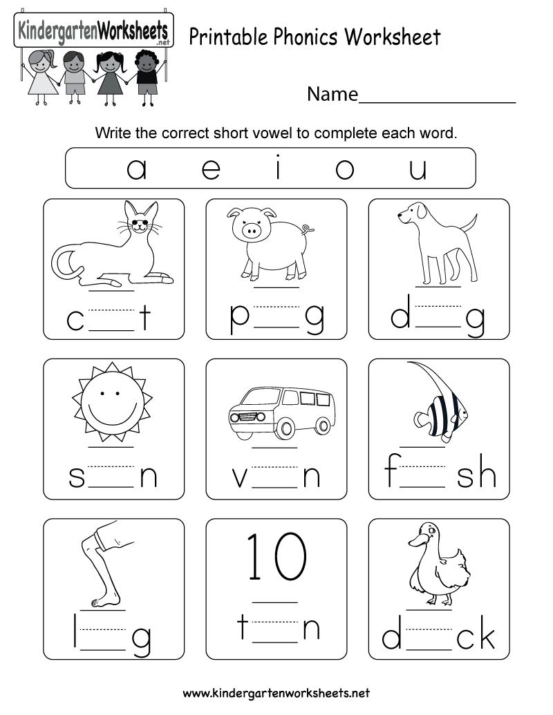 Free Printable Phonics Worksheets For Kindergarten Pri