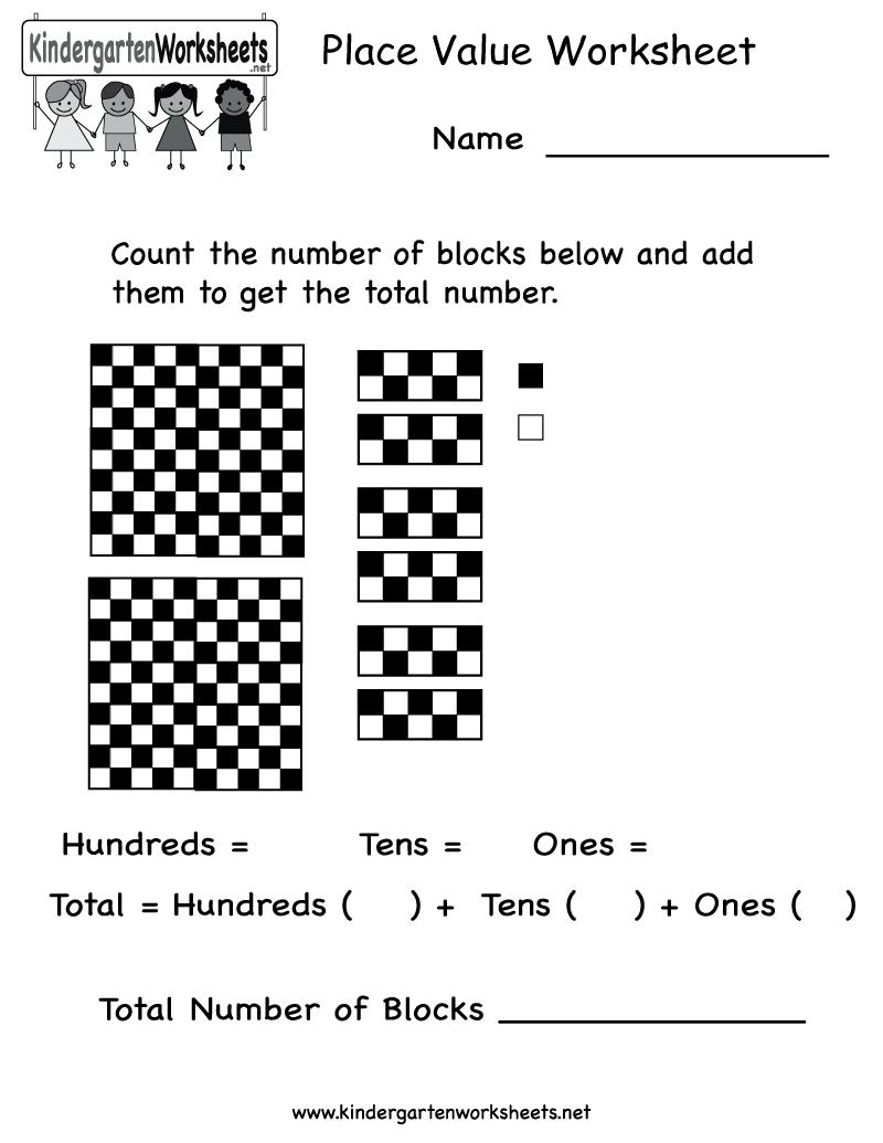 Free Printable Place Value Worksheet For Kindergarten
