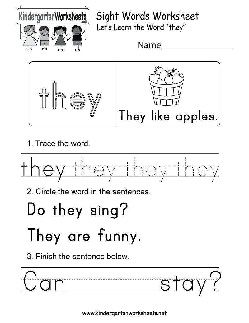 Free Printable Sight Word They Worksheet For Kindergarten Practice