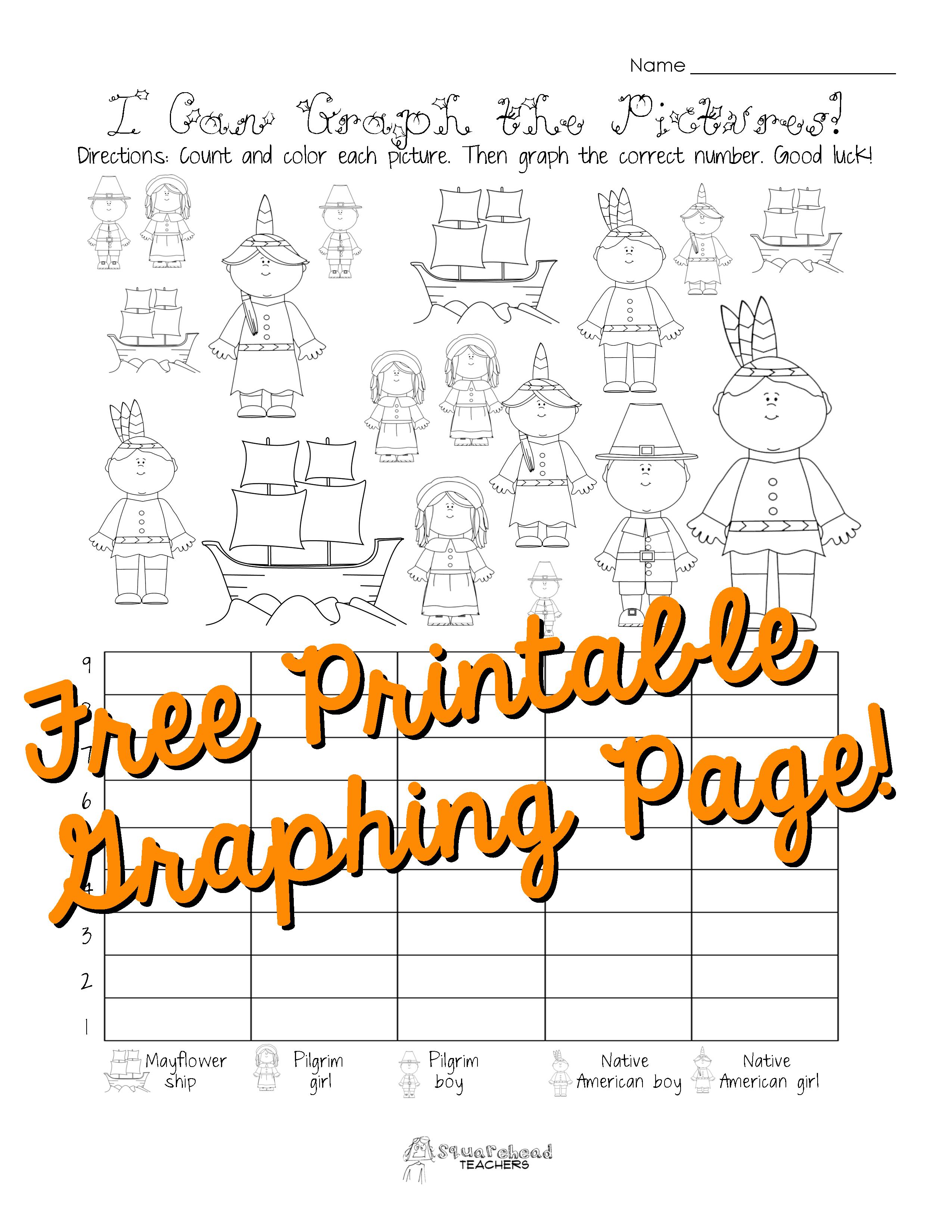 Free Thanksgiving Graphing Worksheet Kindergarten First Grade I