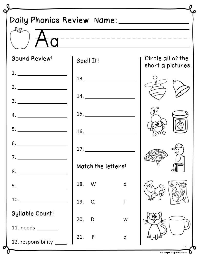 Free Worksheets For Grade 1 Phonics