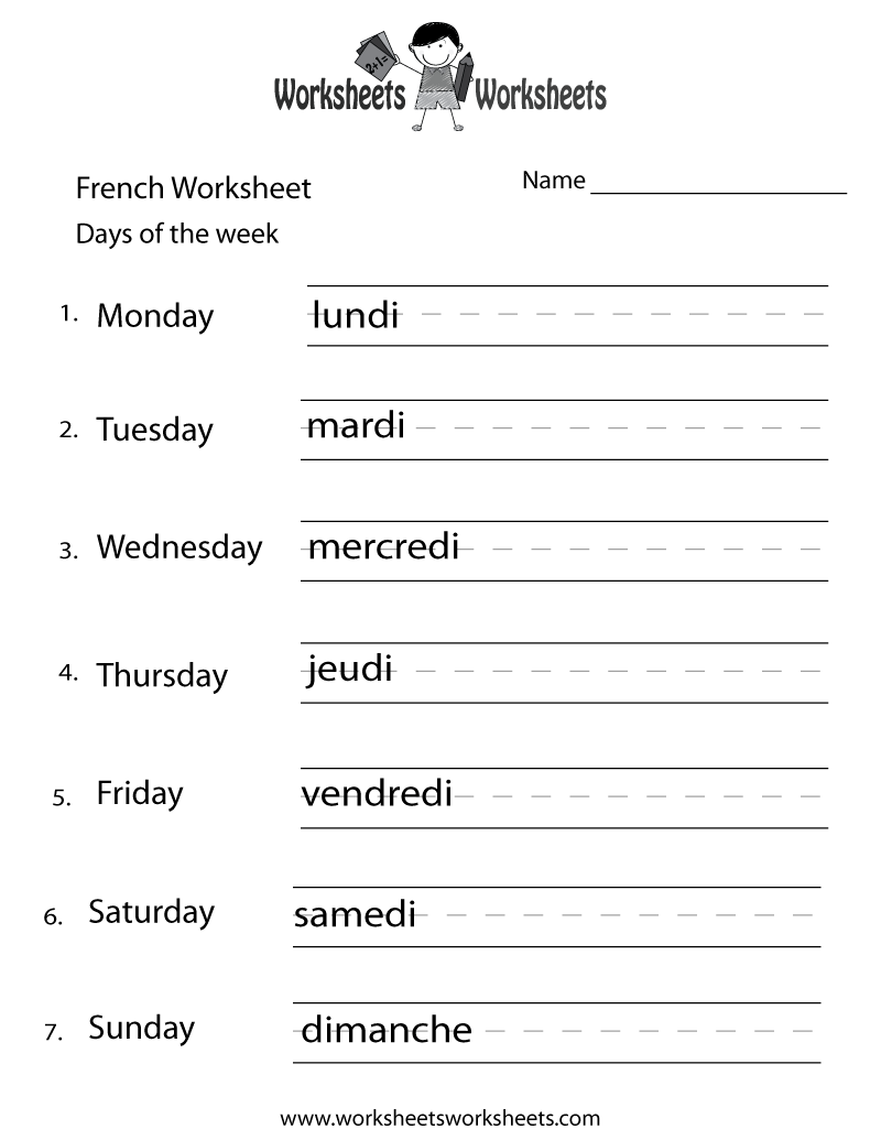 French Days Of The Week Worksheet