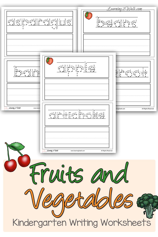 Fruits And Vegetables Kindergarten Writing Worksheets