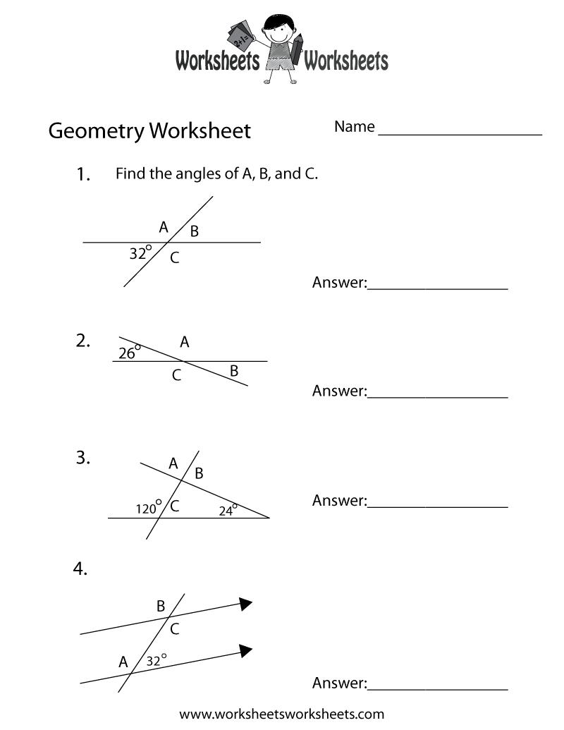 Geometry Angles Worksheet