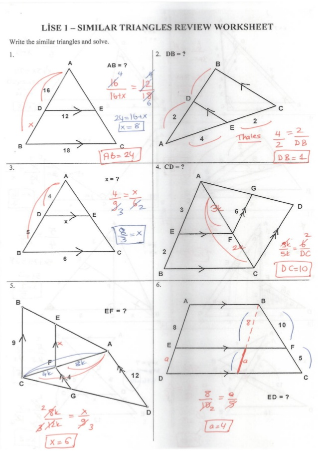Geometry Similar Triangles Worksheet The Best Worksheets Image