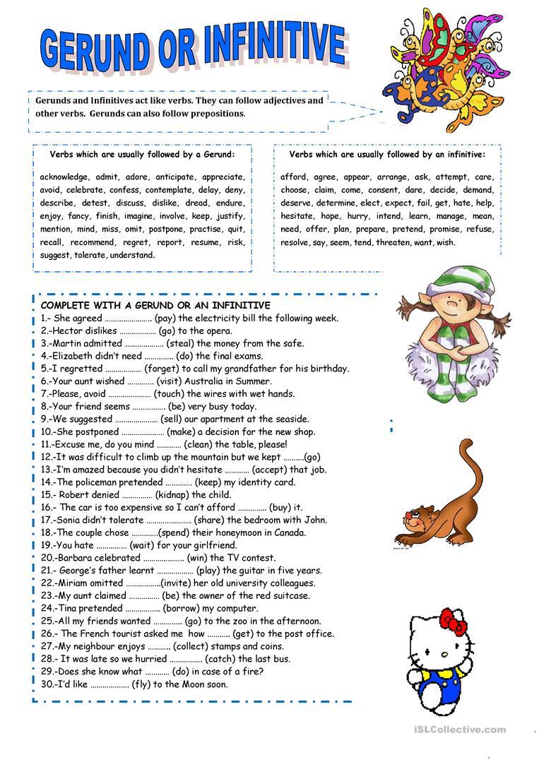 Gerund Or Infinitive Worksheet