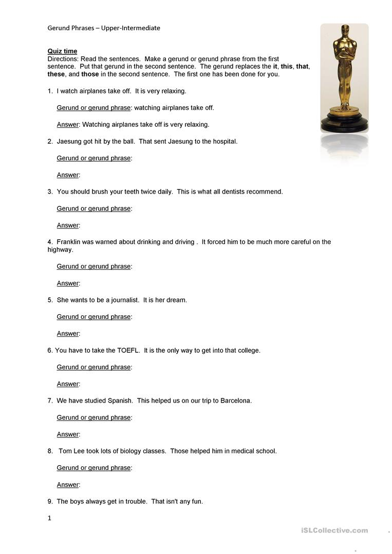 Gerund Phrase Worksheets