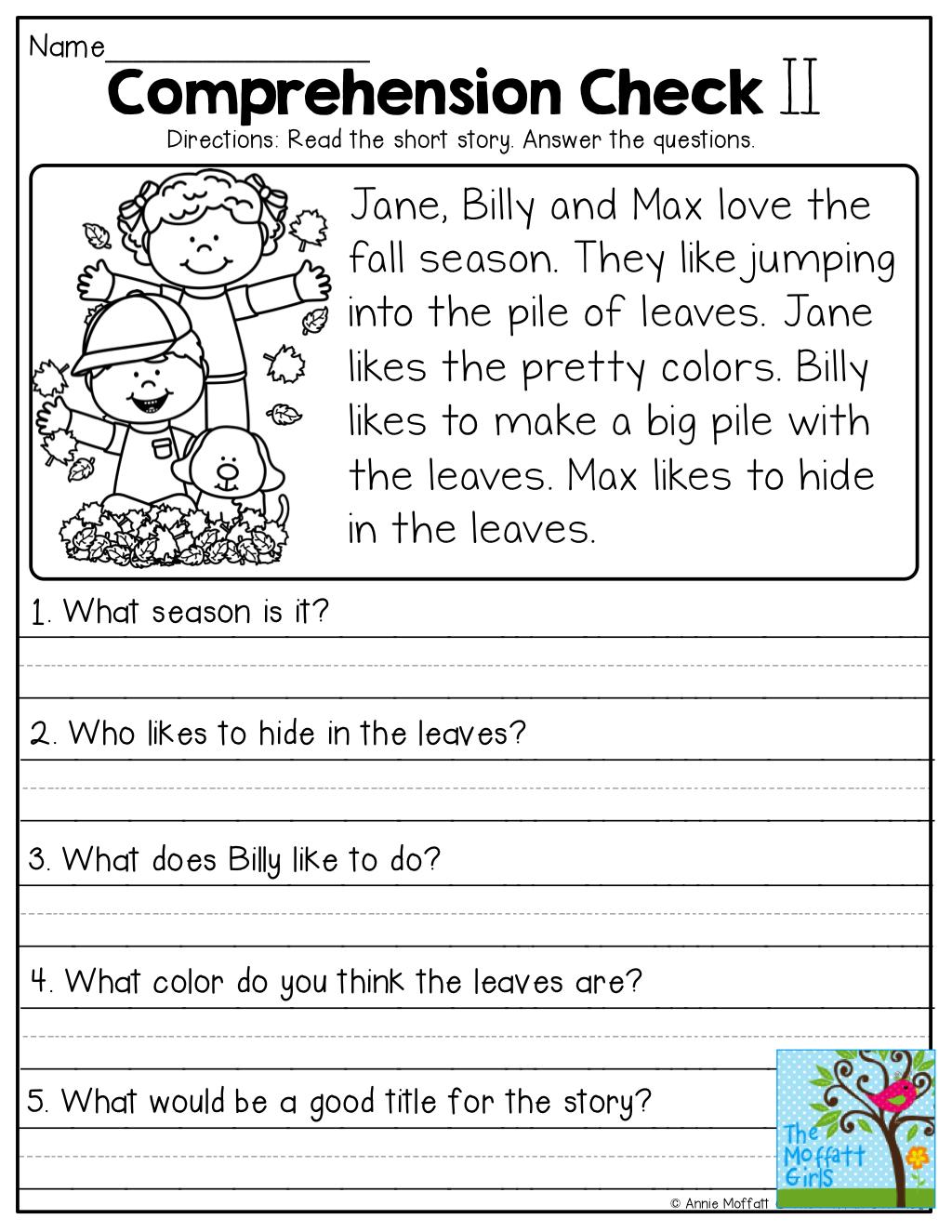 Grade 1 Reading Comprehension