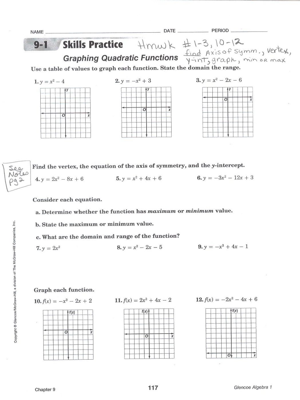 Graphing Quadratic Functions Worksheet Worksheets For All