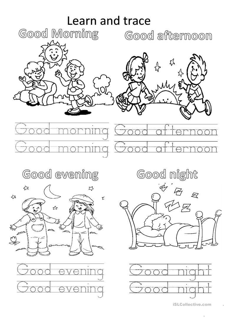 Good morning worksheets kindergarten m4hsunfo
