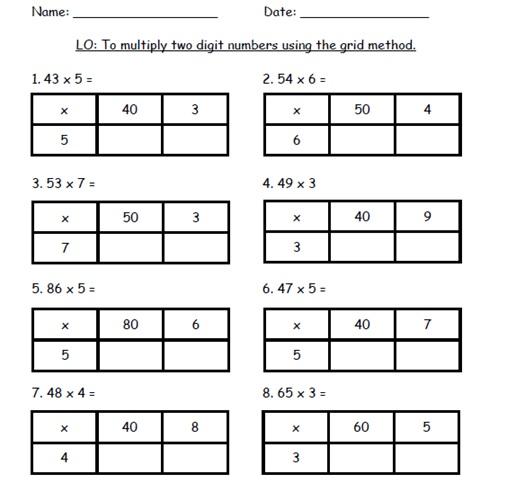 Grid Multiplication Worksheets The Best Worksheets Image