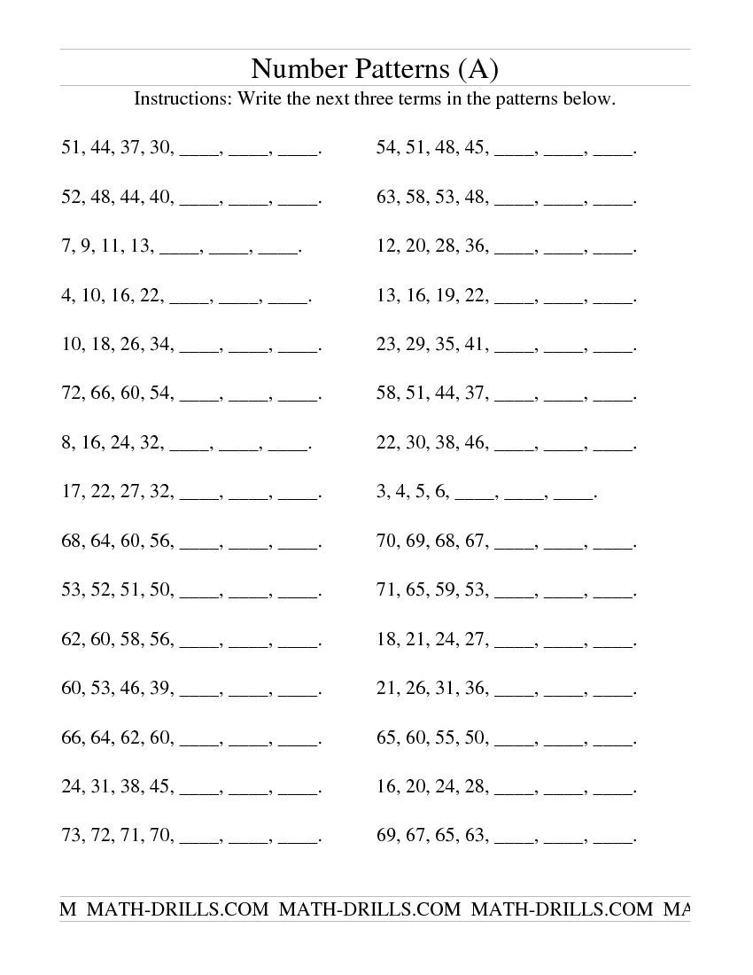 Growing And Shrinking Number Patterns (a)