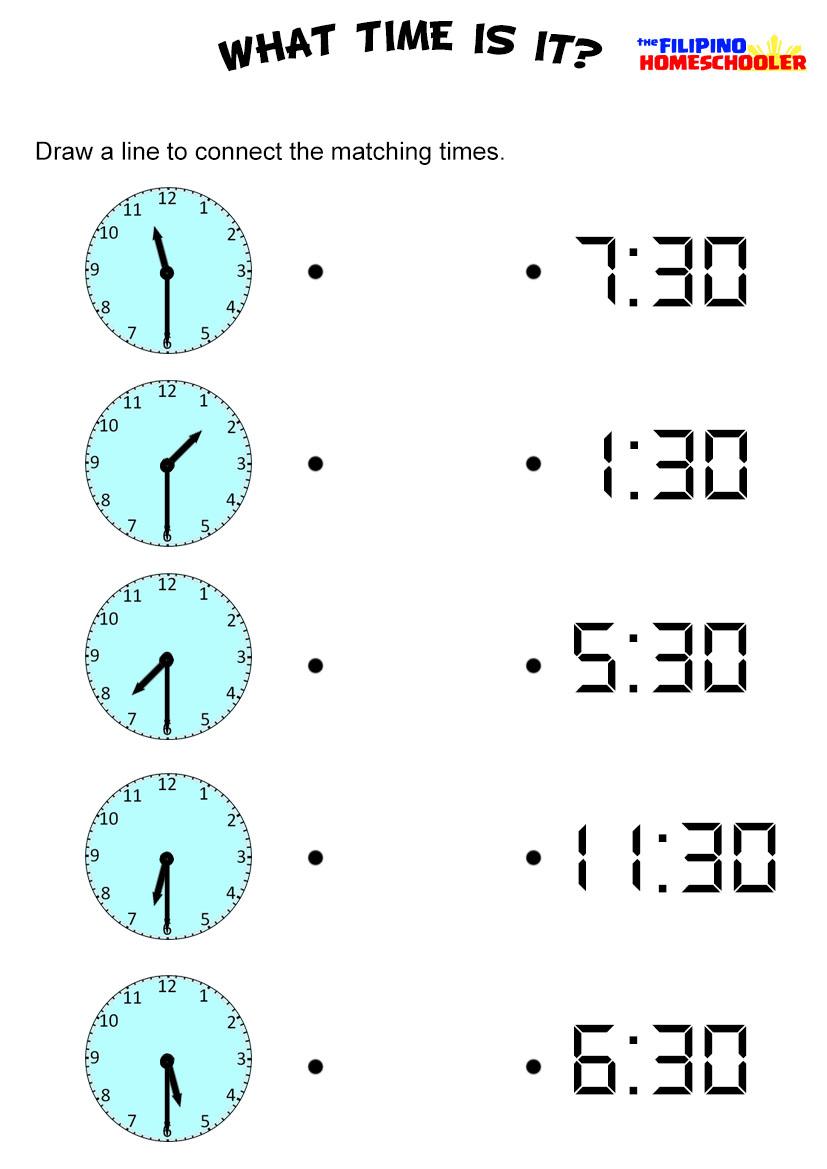 Half Hour Time Worksheet Worksheets For All