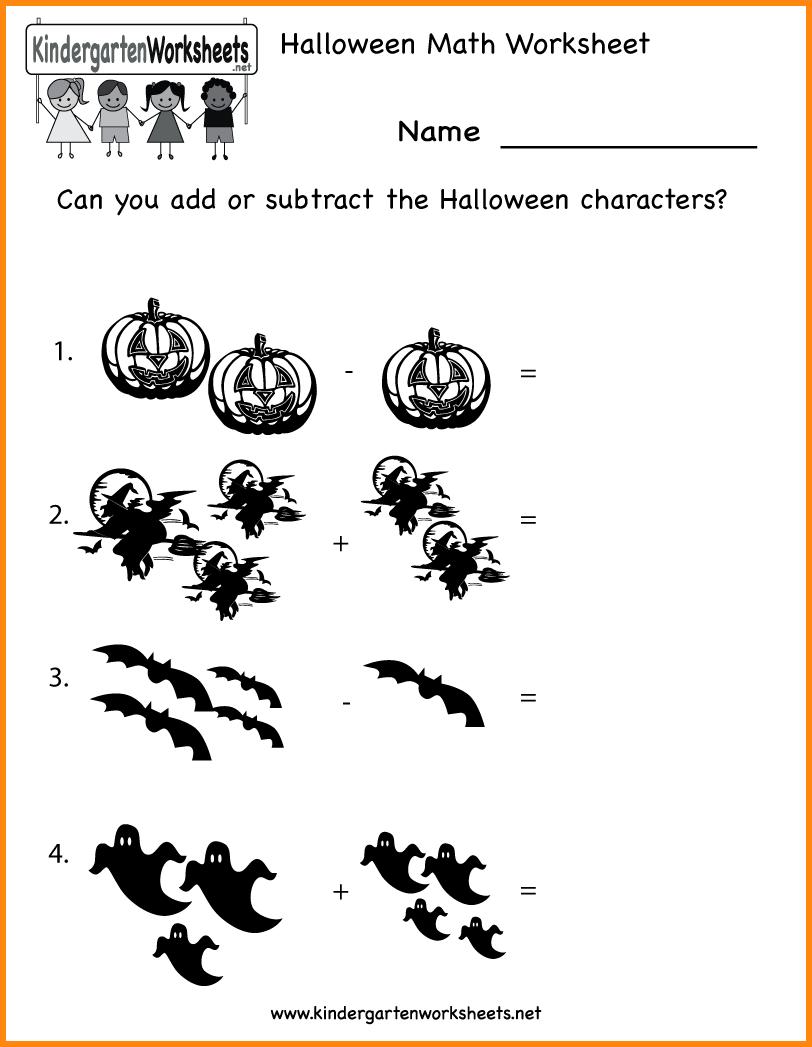 Halloween Math Worksheets For Kindergarten Worksheets For All