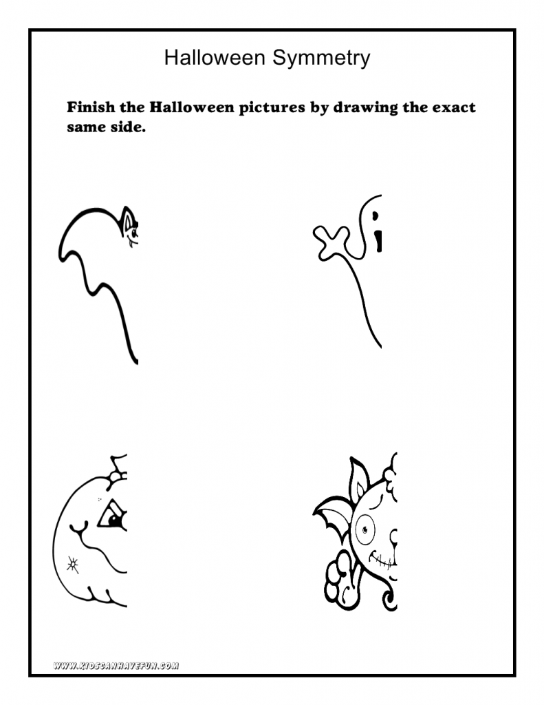Halloween Worksheets, Math, Symmetry, Tracing, Cut And Paste