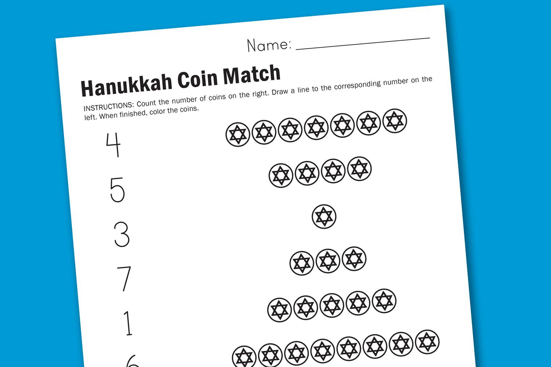 Hanukkah Counting Worksheet  Worksheet  Hanukkah  Printable
