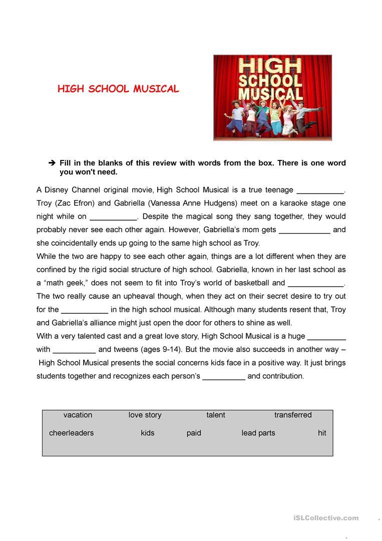 High School Musical Review Worksheet